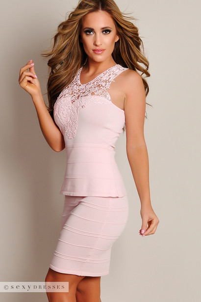 Sexy Pastel Pink Crochet Top Peplum Dress
