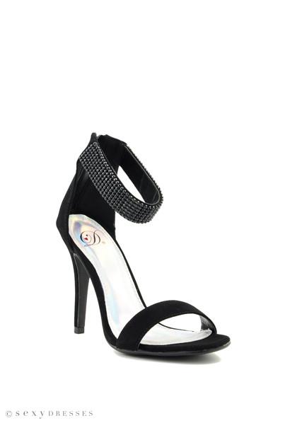 Black Suede 'Tissue' Ankle Strap High Heel