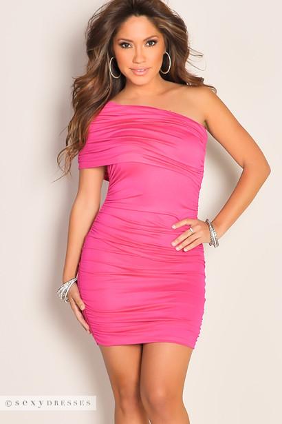 Sexy Fuchsia One Shoulder Ruched Mini Club Dress
