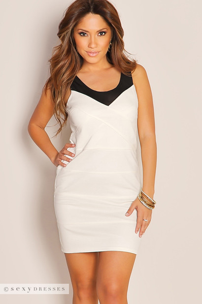 Cream with Black Mesh Cut Out Mini Bandage Sexy Club Dress