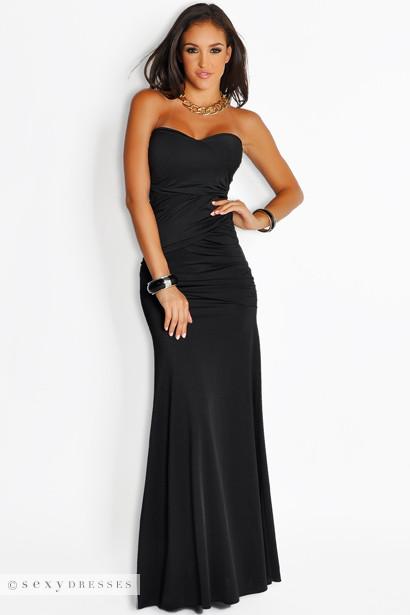 Black Long Strapless Dress