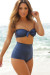 Solid Navy Blue Modern Fit Bandeau Top Classic High Waisted Shorts Bikini