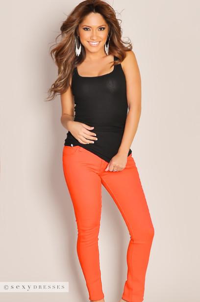 Chic Denim Colored Orange Skinny Jeans
