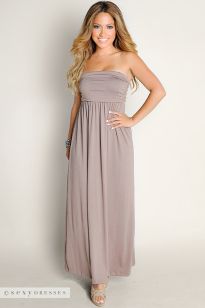 Cute Mocha Brown Summer Dream Strapless Solid Color Tube Top Maxi ...