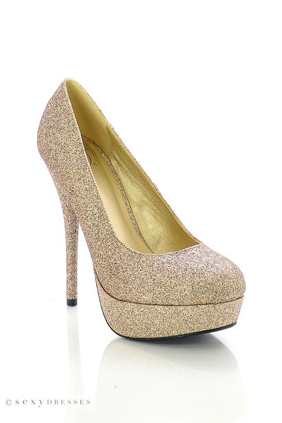 """Seduction"" 5"" Gold Glitter High Heel Platform Pumps"