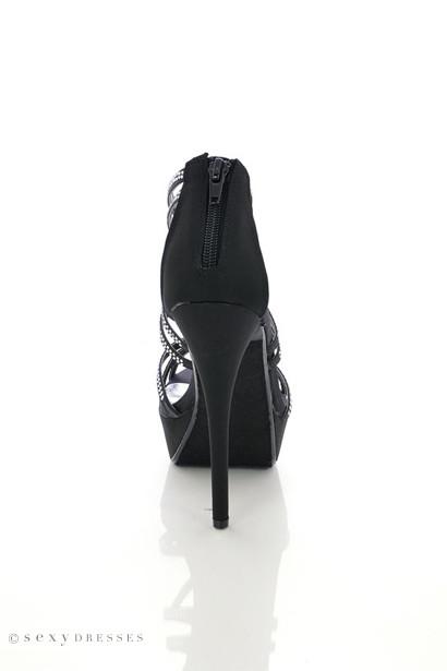 Black Satin 'Poly' Rhinestone Embellished Strappy High Heel Sandals