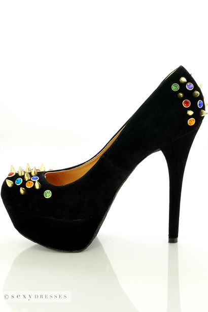 Black 'Gemini' Gold Studded Spiky Detail High Heel Platform Stilettos