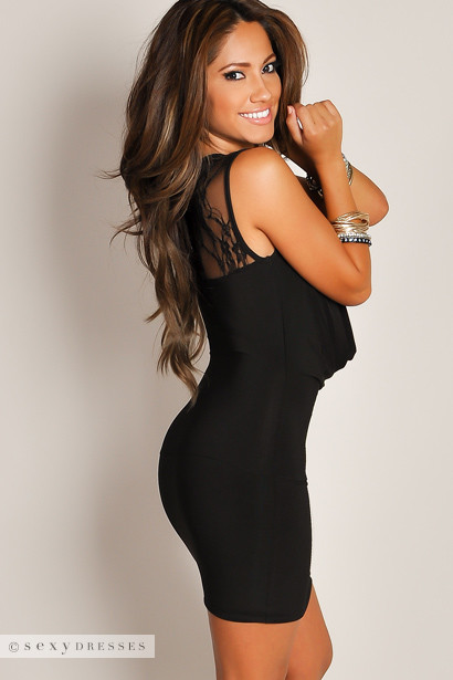 """Jessica"" Black Plunging Cowl Neck Mini Dress with Sheer Lace Cut Outs"