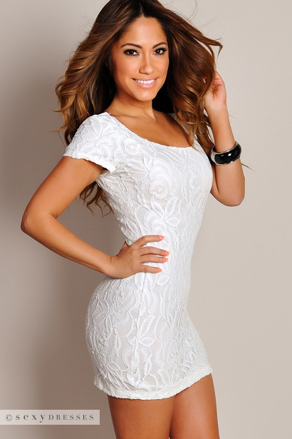 White Secret Garden All Over Lace Mini Dress