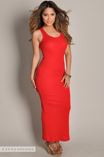 """Anabelle"" Red Cute and Casual Sleeveless Tank Maxi Dress"