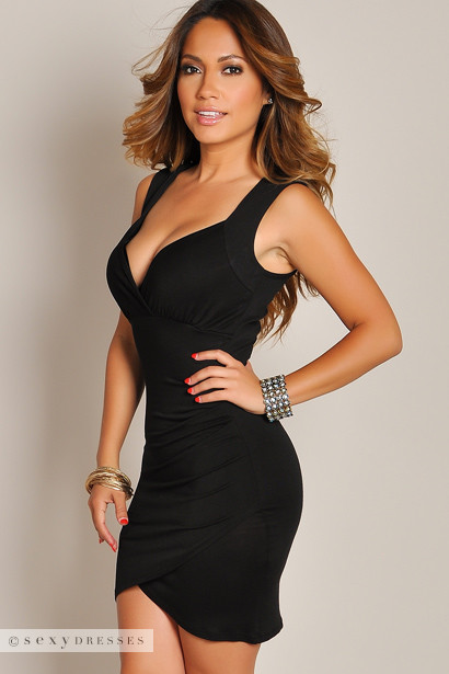 """Raquel"" Black Deep V Lace Back Tank Wrap Dress"