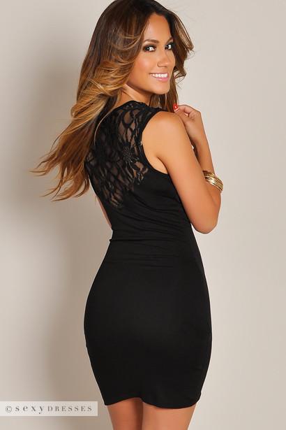 """Raquel"" Black Deep V Lace Back Tank Wrap Dress"