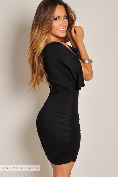 """Fabiana"" Black Keyhole Bodycon Club Dress with Sleeves"