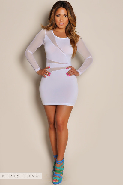 """Cherise"" White See Through Mesh Long Sleeve Mini Dress"