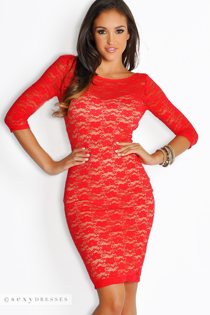 Sexy Red Lace Contrast Sheath Dress