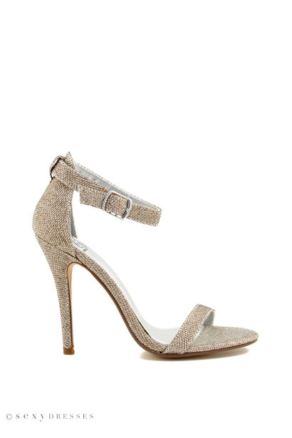 """ChaCha"" 4"" Gold Shimmer Womens High Heel Sandals"