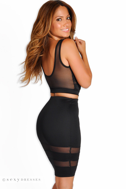 """Zara"" Black Sheer Mesh Two Piece Dress"