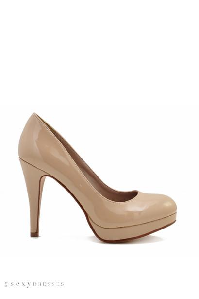 "4"" Beige Patent Leather High Heel Platform Pumps"