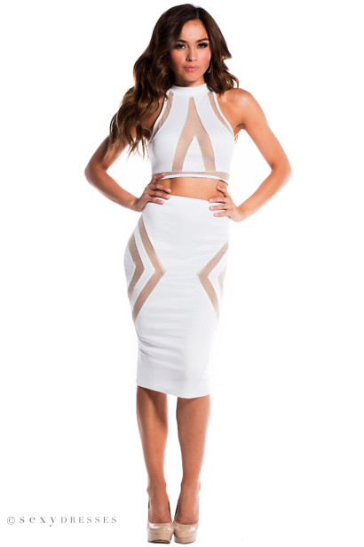 """Tori"" Pure White Illusion Mesh Cut Out Halter Crop Top Two Piece Dress"