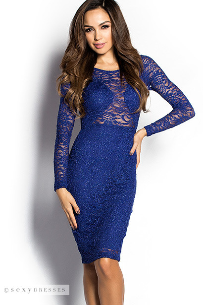 """Julia"" Royal Blue Sparkly Long Sleeve Lace Cut Out Cocktail Dress"