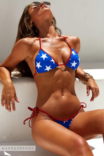 Daytona Sexy Red, White & Blue Star Print Triangle Top Cheeky Micro Scrunch Bun® Swimsuit