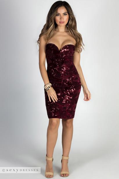 """""""Wine & Roses"""" Wine Velvet & Sequins Strapless Cocktail Dress"""