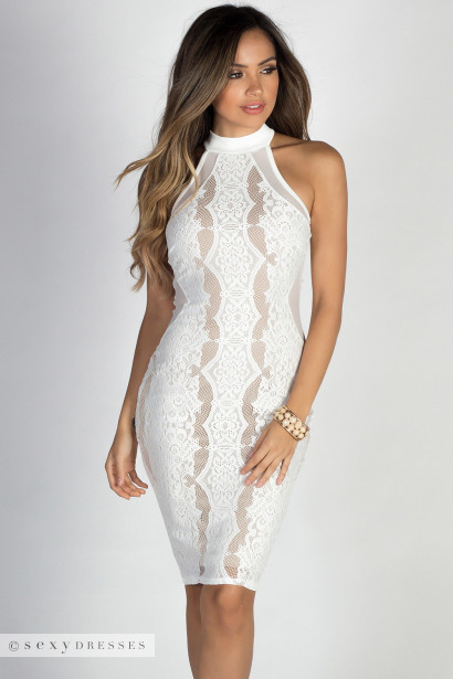 """All the Feels"" White & Nude High Neck Halter Lace Midi Dress"