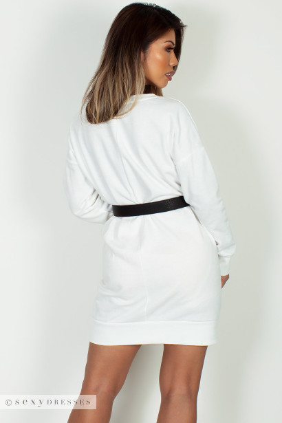 """Cozy Times"" Off White V-Neck French Terry Sweater Dress"
