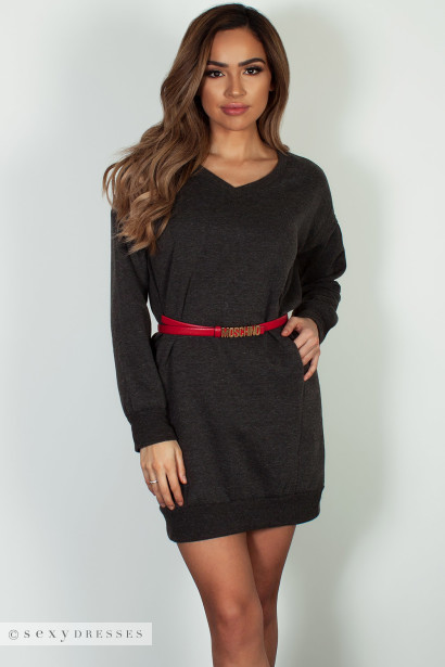 """Cozy Times"" Charcoal V-Neck French Terry Sweater Dress"
