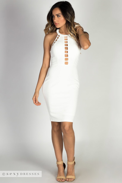 """Scandal"" White High Neck Halter T Back Lattice Cut Out Cocktail Dress"