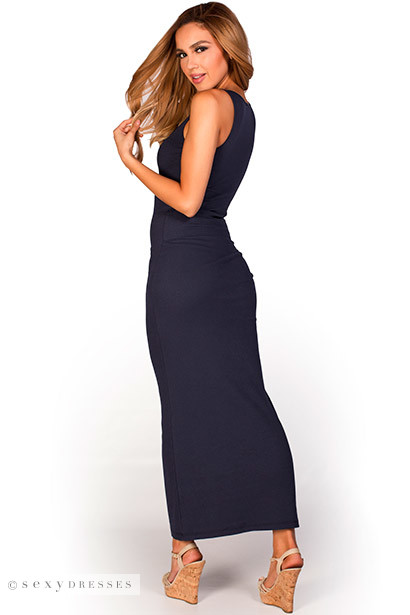 """""""Anabelle"""" Navy Blue Cute and Casual Sleeveless Tank Maxi Dress"""