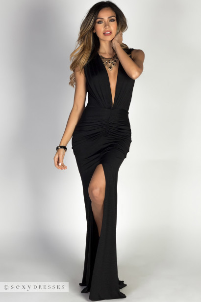 """Jessica"" Black Sleeveless Plunging Deep V Glam Maxi Dress"