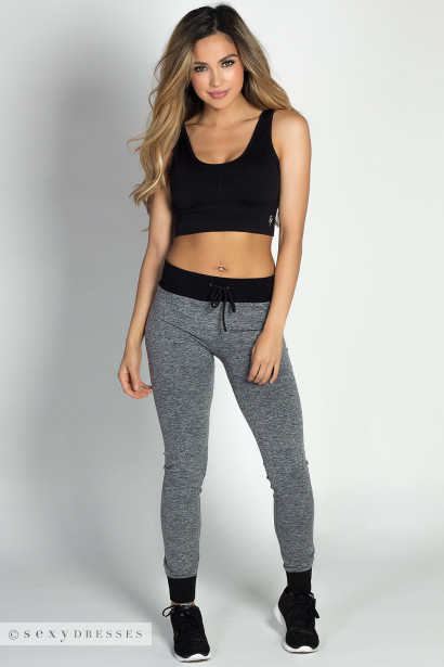 """Team Player"" Gray & Black Microfiber Jogger Leggings"