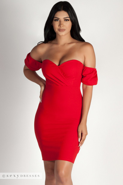 """""""Always This Late"""" Red Off Shoulder Bodice Dress"""