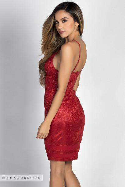 """Diandra"" Metallic Red Sparkly Glitter Bustier Dress"