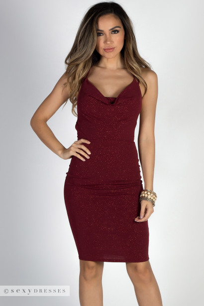 """After Sunset"" Burgundy Glitter Strappy Crisscross Halter Dress"