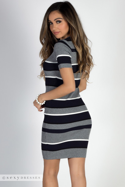 """Easygoing"" Navy & Gray Stripes Crew Neck Midi Sweater Dress"