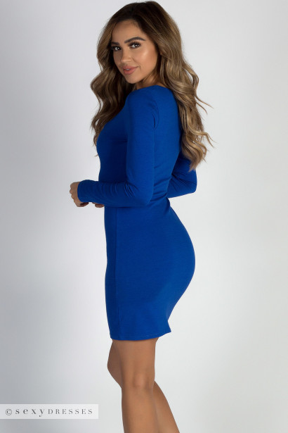 """Wishes Resigned"" Royal Blue Zip Up Long Sleeve Dress"