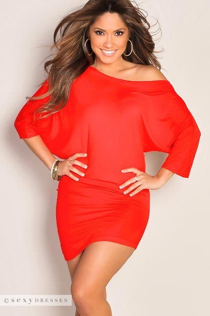 """Courtney"" Red Sexy Off the Shoulder T-Shirt Dress"