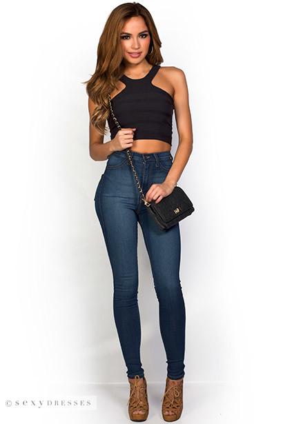 "Regina"" Blue Denim High Waist Super Skinny Jeans"
