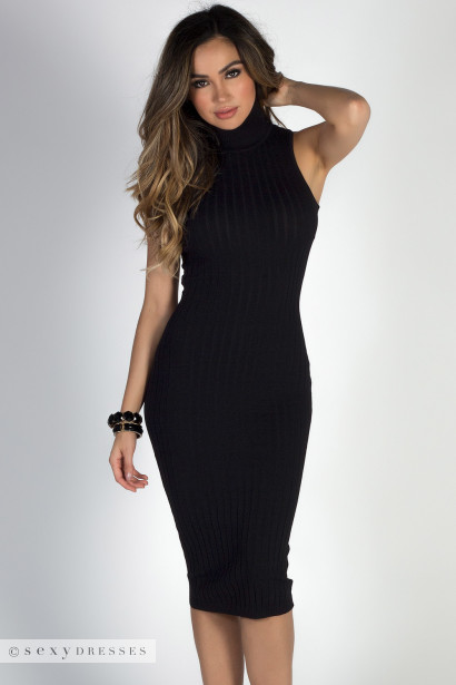 Pulled Together Black Bodycon Turtleneck Sleeveless Midi Sweater