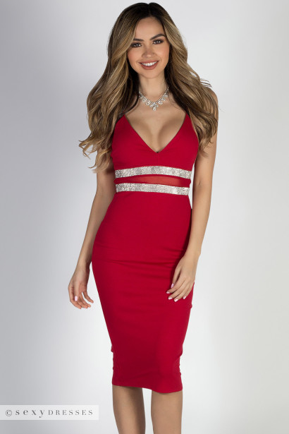 """Fabulous"" Red Rhinestone Trim Empire Waist Midi Dress"