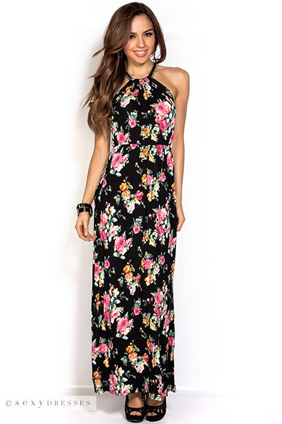 """Rosalie"" Black and Pink Multicolored Halter Neck Floral Maxi Dress"