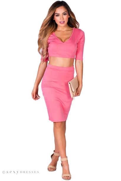 """Traci"" Coral Pink 3/4 Sleeve V Neck Crop Top & Pencil Skirt 2 Piece Dress"