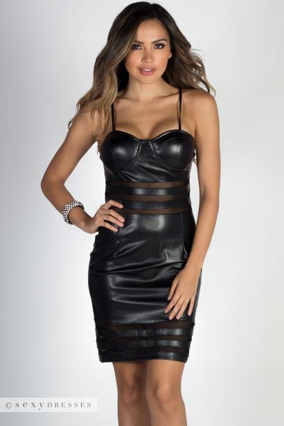 Dangerous Beauty Black Pleather Mesh Cut Out Bustier Dress