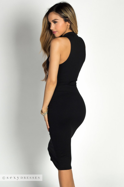 """Garcelle"" Black Turtleneck Sleeveless Jersey Bodycon Midi Dress"
