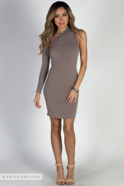"""Cruise Queen"" Taupe One Shoulder Dress"