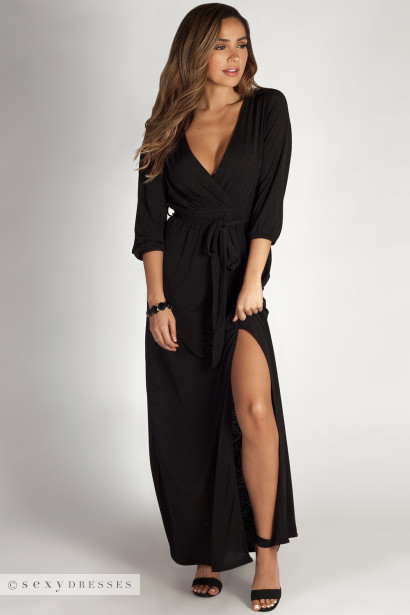 Say Something Black Long Sleeve V Neck Maxi Dress