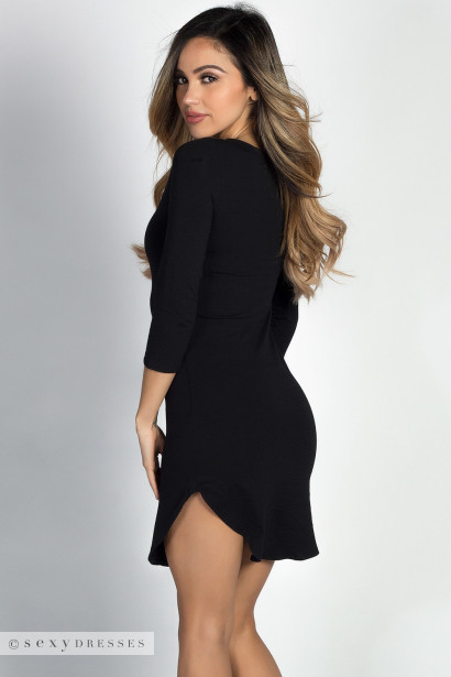 """Alaya"" Black 3/4 Sleeve T-Shirt Tunic Dress"