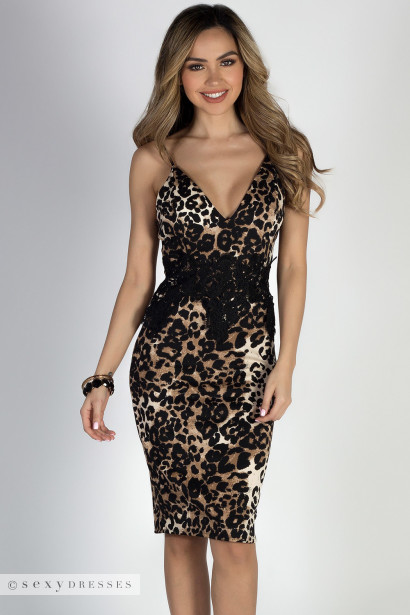 """Animal Instinct"" Leopard & Lace Strappy Cocktail Dress"